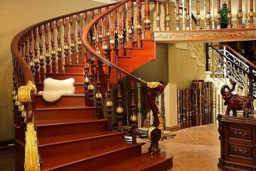 红木楼梯扶手如何保养?红木楼梯扶手装修效果图欣赏