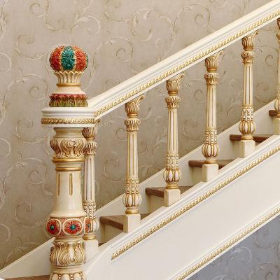 实木楼梯定制欧式复式旋转别墅阁楼家用扶手立柱栏杆护栏踏板