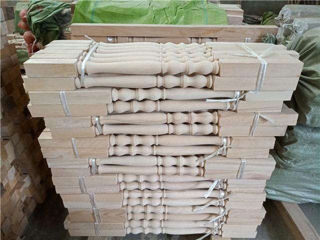 精品实榉木楼梯立柱扶手配件厂家直销波浪款阳台护栏
