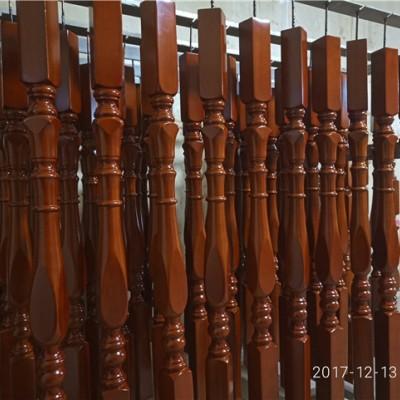 定制各种精美红橡榉木实木楼梯立柱扶手配件定做实木楼梯配件